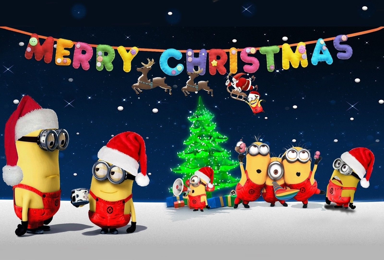 Minions Christmas Desktop Tablet Wallpaper With Images Minion