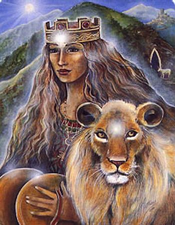Cybelle, Kybele, Magna Marta... Love, health humor, vicotry, strength, relationships.  Symbols are pine, meteorite stone, key.  The lion is a common companion from older (than roman) associations of this goddess.