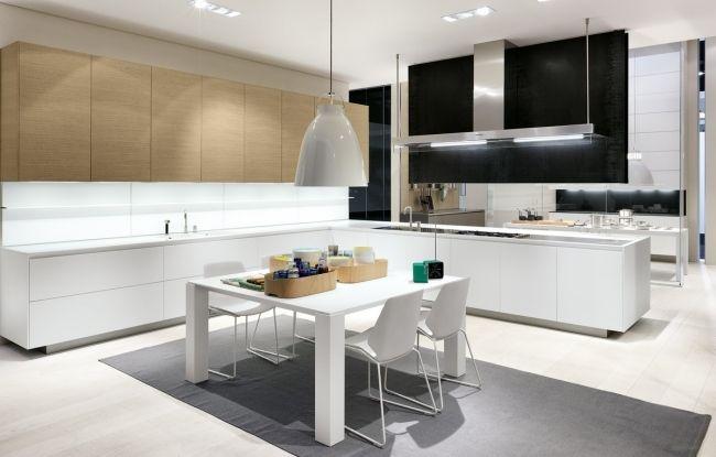 Moderne Küche L Form Helles Holz Weiß Esstisch