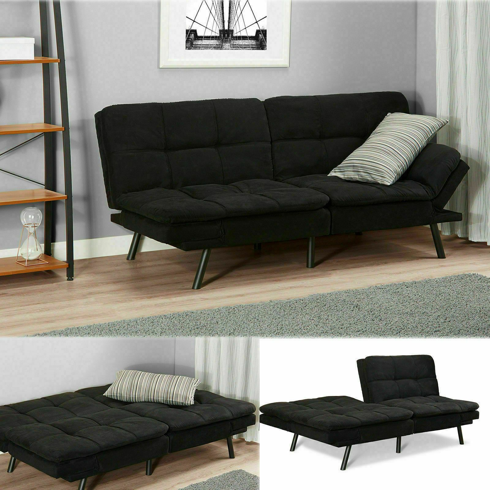 Sleeper Sofa Bed Black Suede Convertible Couch Modern Living Room Futon Loveseat Sofa Living Ideas Of Sof Sofa Bed Black Living Room Sofa Convertible Couch