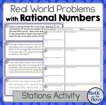 This Activity Consists Of 7 Multi Step Word Problems Involving Rational Numbers Fractions Integers And Dec Word Problems Rational Numbers Station Activities