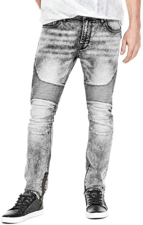 c7766a160 GUESS Men's Acid Wash Moto Skinny Jeans | Products | Skinny jeans ...