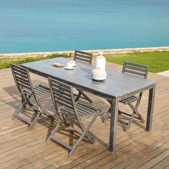 Table de jardin en acacia grisée St Malo - Table de Jardin Maisons du Monde (Có hình ảnh)