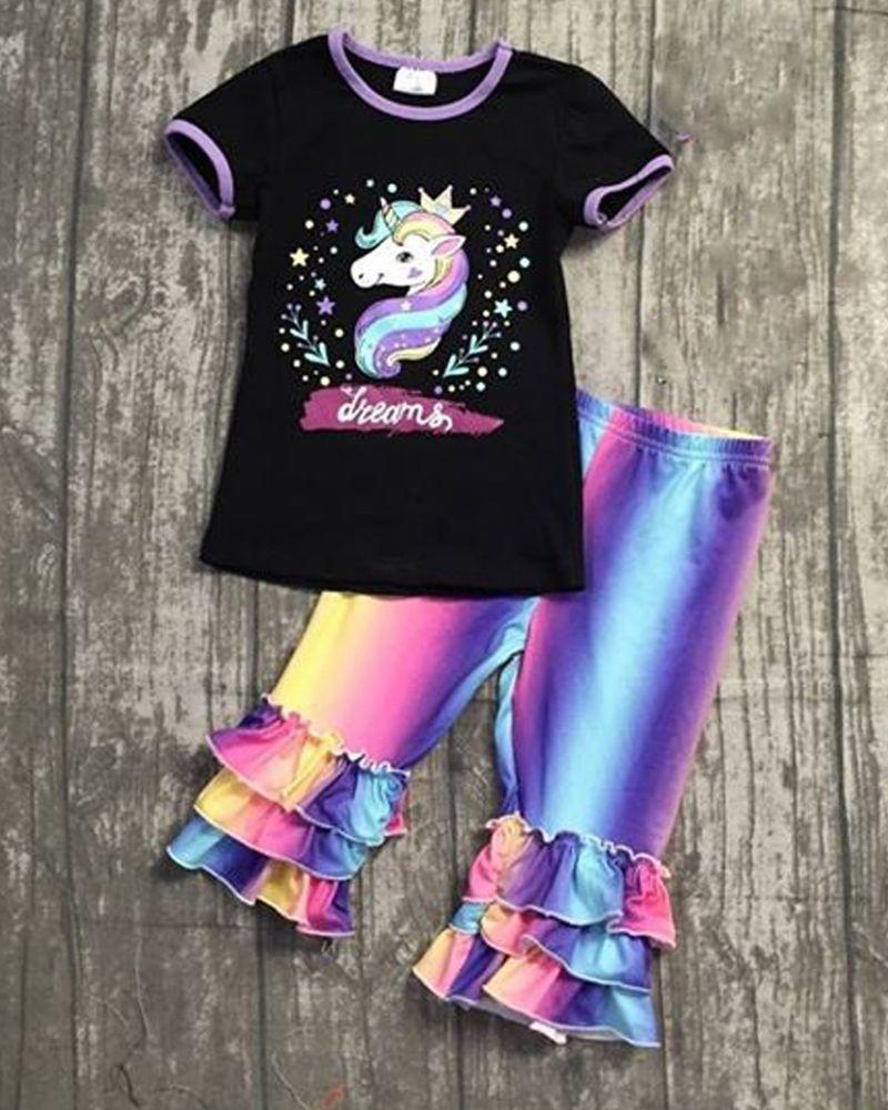 Rainbow Unicorn Dreams Capri Boutique Outfit girls Size 12-18m 2 3 4 5 6 7  8 gab  Unbranded  DressyEverydayHoliday e23e69c5dd