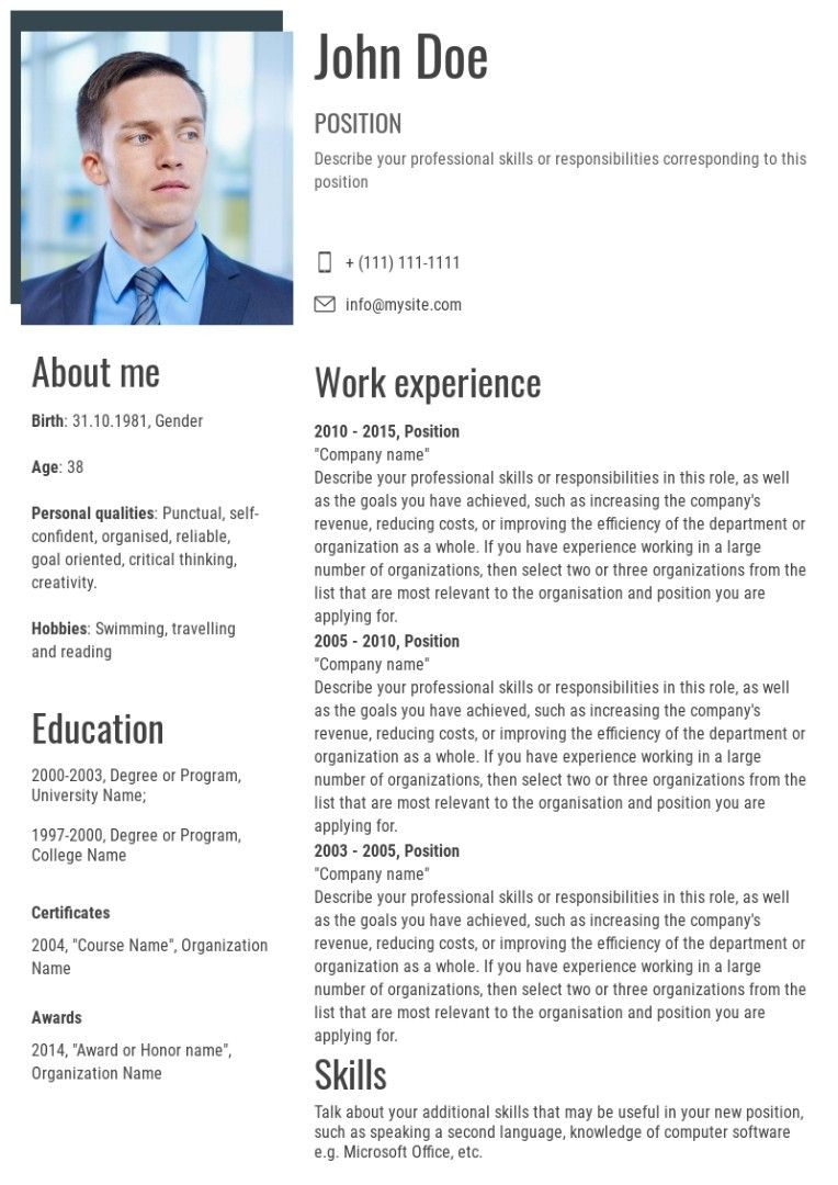 Resume template in 2020 Resume template, Resume