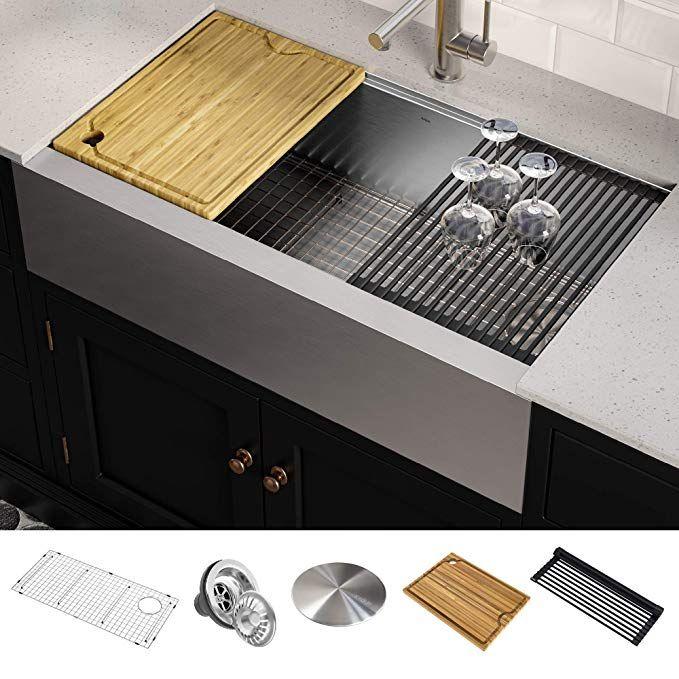 Kraus Kwf410 36 Kore Workstation 36 Inch Farmhouse Flat Apron Front 16 Gauge Singl Single Bowl Kitchen Sink Farmhouse Sink Kitchen Stainless Steel Kitchen Sink