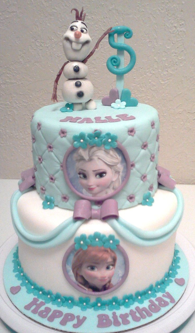 Frozen 2 Tier Cake With Fondant Decor Olaf On Top Of Cake Kids