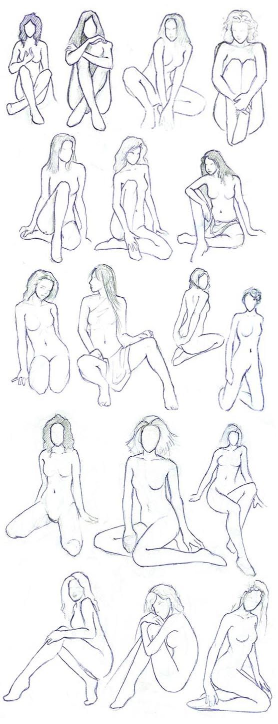 drawings of women in erotic positions