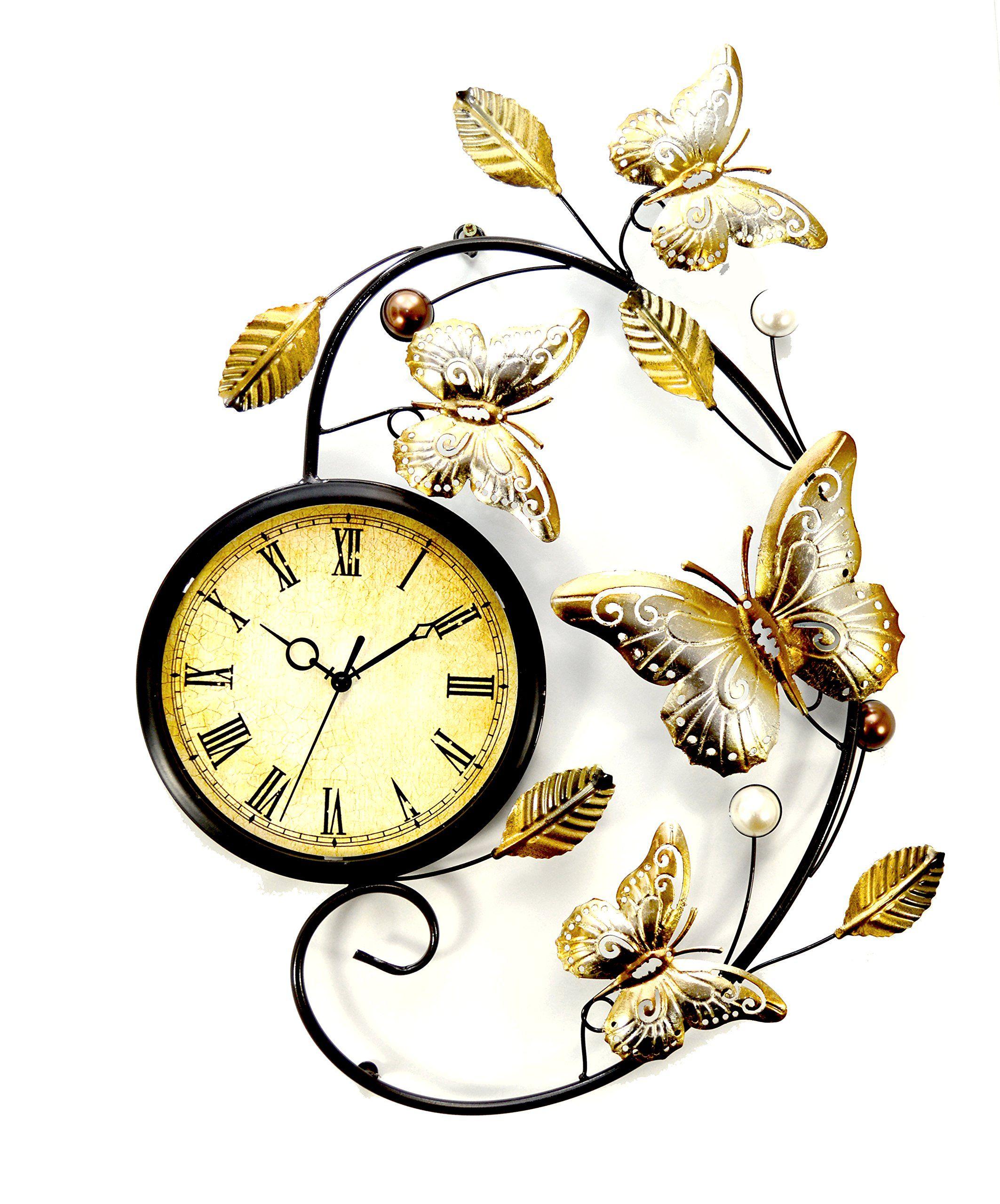 Juliana Home Living Butterfly Metal Wall Art Clock: Amazon ...