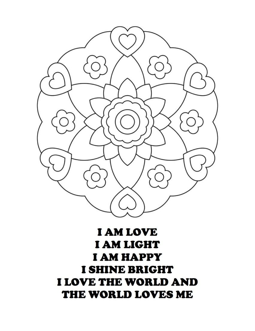 I am Love I am Light Mandala Coloring Page Color this page with