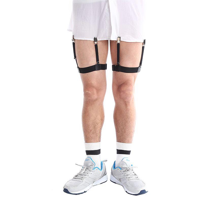 Punk Mens Shirt Stays Garters Suspender Braces For Shirts Gentleman Leg Elastic Men Shirt Garter Holder Business Suspenders