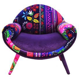 Add an eclectic style statement to your home with this handcrafted armchair, featuring Thai Hmong fabric and Turkish velvet upholstery and a retro-inspired silhouette. A one of a kind piece, team with bare wood floors and a vibrant accent wall to complete the look.  Product: ChairConstruction Material: Beech wood, Thai Hmong cotton and Turkish velvet cottonColour: MultiFeatures:  HandcraftedDesigned by Jo Supara and Ali TarakciPatchwork design Seat height 40 cmDimensions: 83 cm H x 85 cm W…