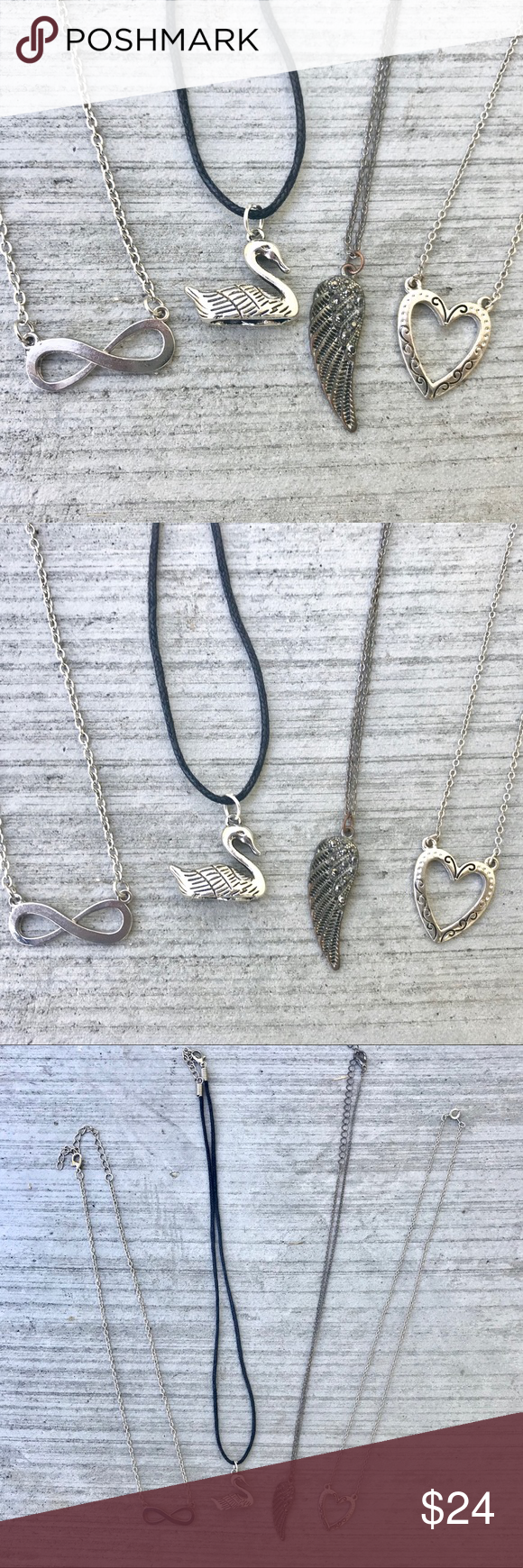 Photo of Silver necklace set INFINITY WING HEART Pendant Cute set of FOUR (4) necklaces w…