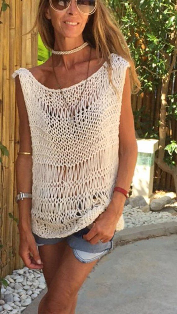 Tank, sweater, pullover, cream Loose knit sweater tank, pullover, loose knit Cotton Sweater, Made to order #knittedsweaters