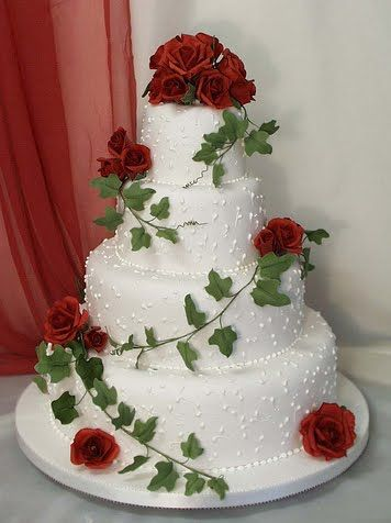White Square Wedding Cake With Red Roses This Is A 4 Tier Pearl Dots Scrolls And Swirls On Each Layer