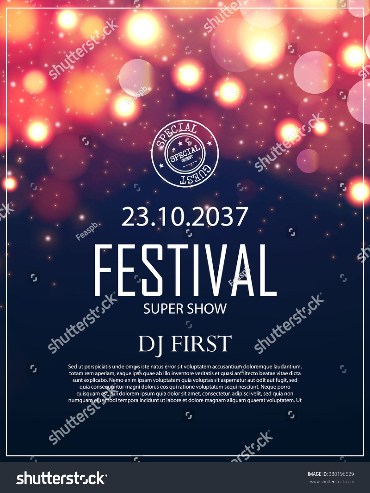 Poster Template with Bokeh Effect  Concert, Party, Theater, Dance