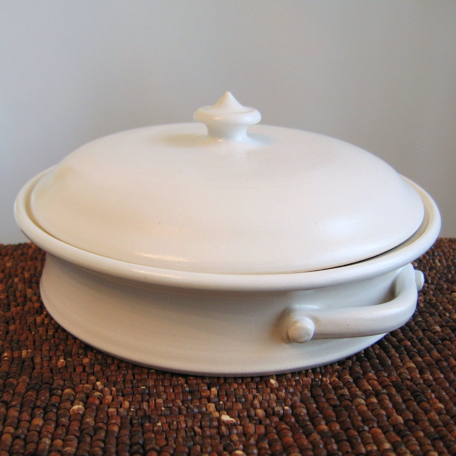 Pottery Casserole Dish With Lid - Turquoise Blue Stoneware