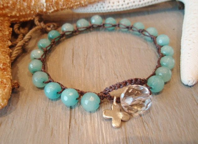 "Amazonite crochet bracelet - slashKnots Stackers ""Beach Bohemian"" sky blue, sterling silver cross clover charm, boho beach chic, surfer girl. $38.00"