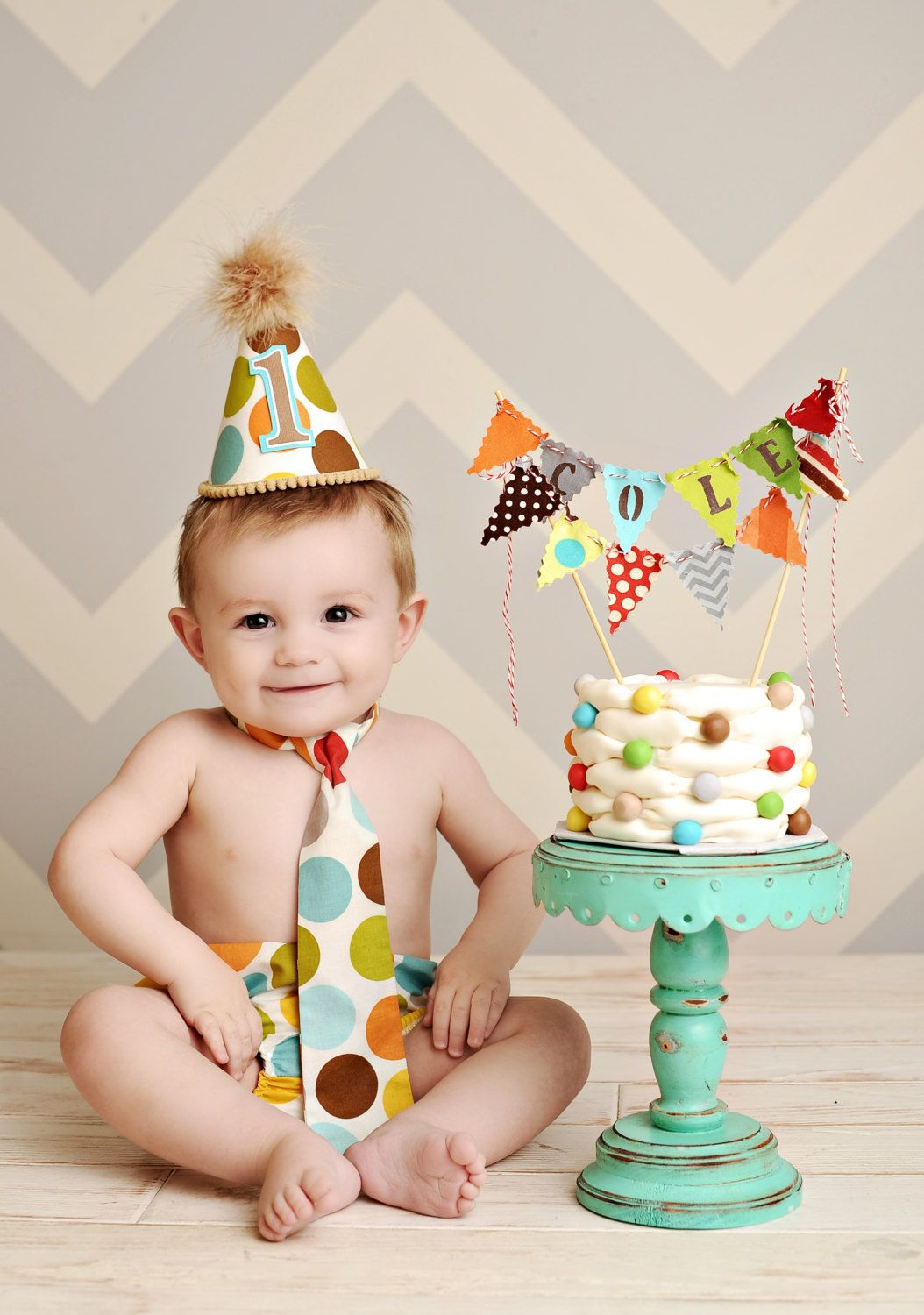 Vintage Boys First Birthday Baby boy / Toddler Cake Smash