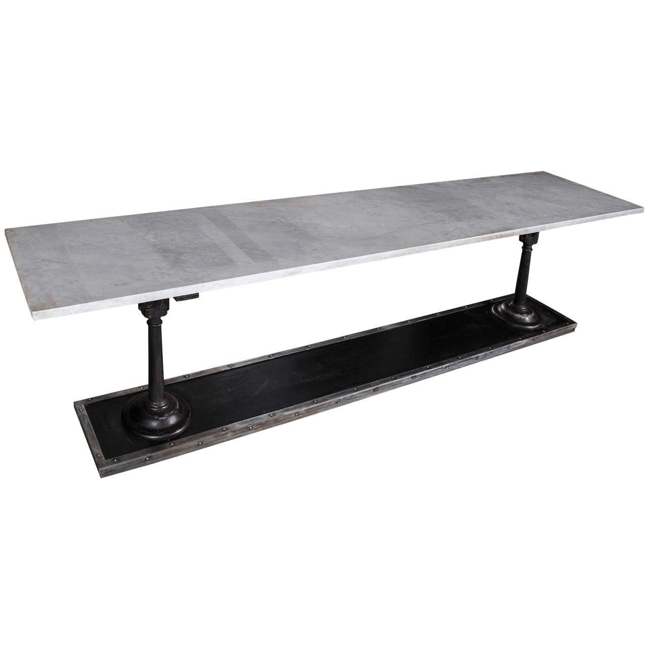 Attractive A Long, Slim Cast And Wrought Iron Butchers Table With Carrara Marble Top