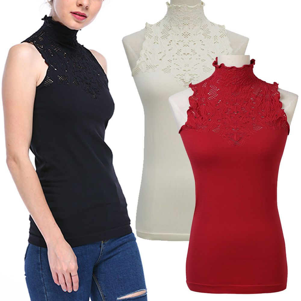 4884ea2ea8 Basic Seamless Ribbed Sleeveless Mock Neck Turtleneck Shaping Tank Top Hot  Tee