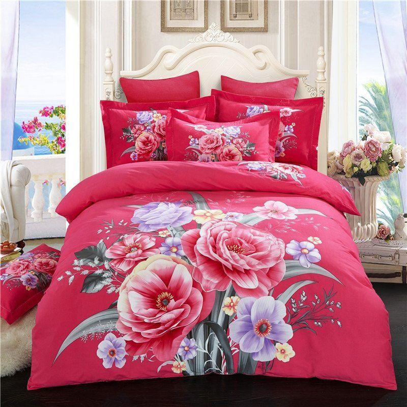 Elegant Girls Floral Print Oriental Style Full Queen Size