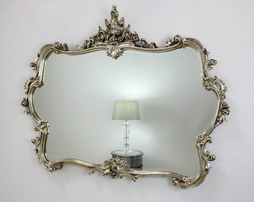 Olita champagne silver ornate overmantle antique wall mirror 51 x olita champagne silver ornate overmantle antique wall mirror 51 x 40 x large amipublicfo Choice Image