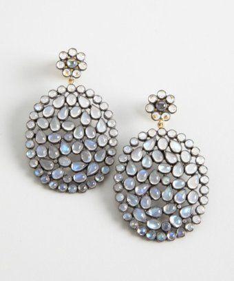 silver and multi moonstone teardrop earrings