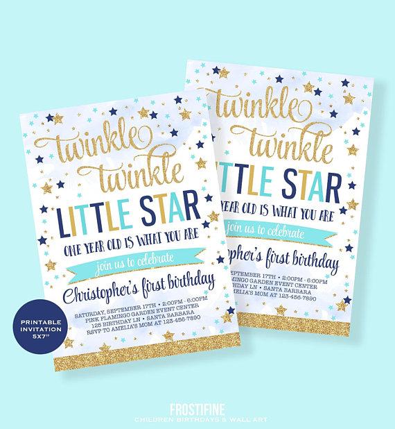 twinkle twinkle little star first birthday invitation boy first