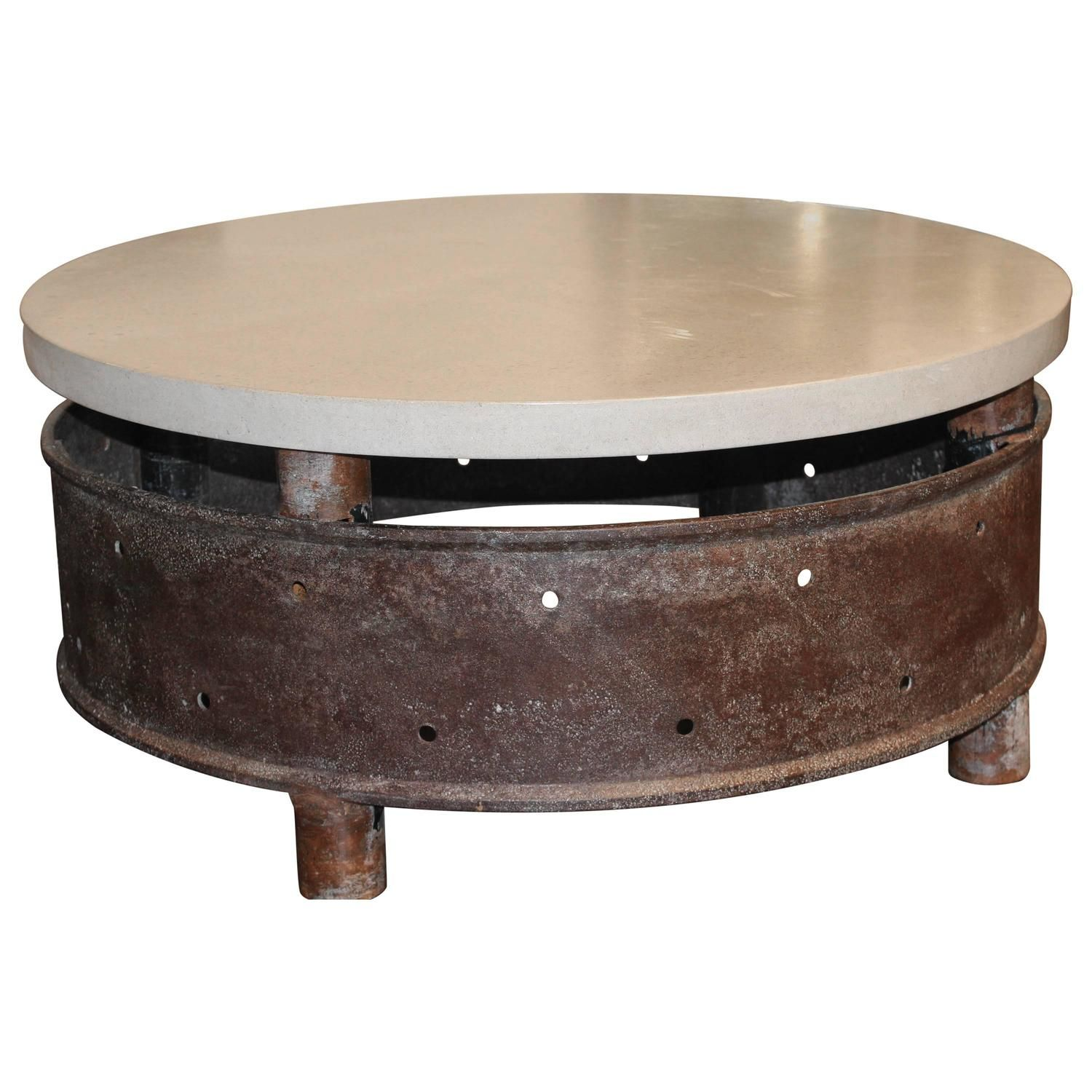 Reclaimed Industrial Wheel With Limestone Top As Coffee Table