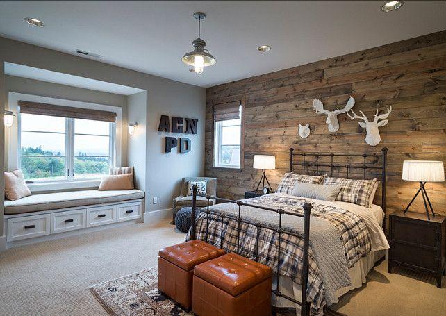 Bedroom with reclaimed barnwood. The boys bedroom features white - Bedroom. Rustic Bedroom Design. Bedroom With Reclaimed Barnwood