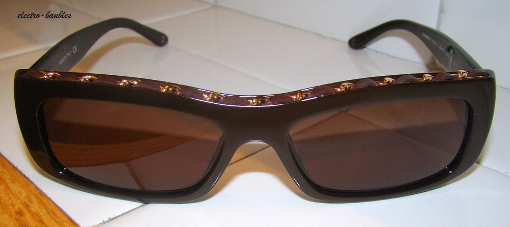 44ccb7ed537 Chanel Sunglasses 5130-Q 638 73 Chain Brown Leather Rectangular NEW  Authentic  Chanel  Rectangular
