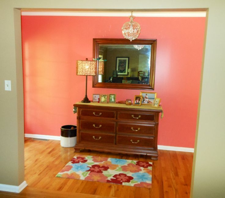 A Beautiful Foyer Painted In Sherwin Williams Coral Reef