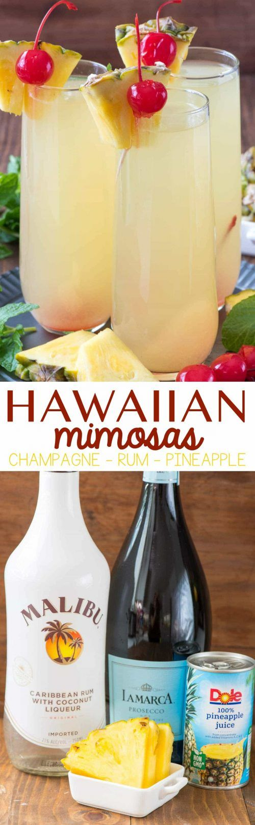 photo collage- Three Hawaiian Mimosas and Malibu Rum ...