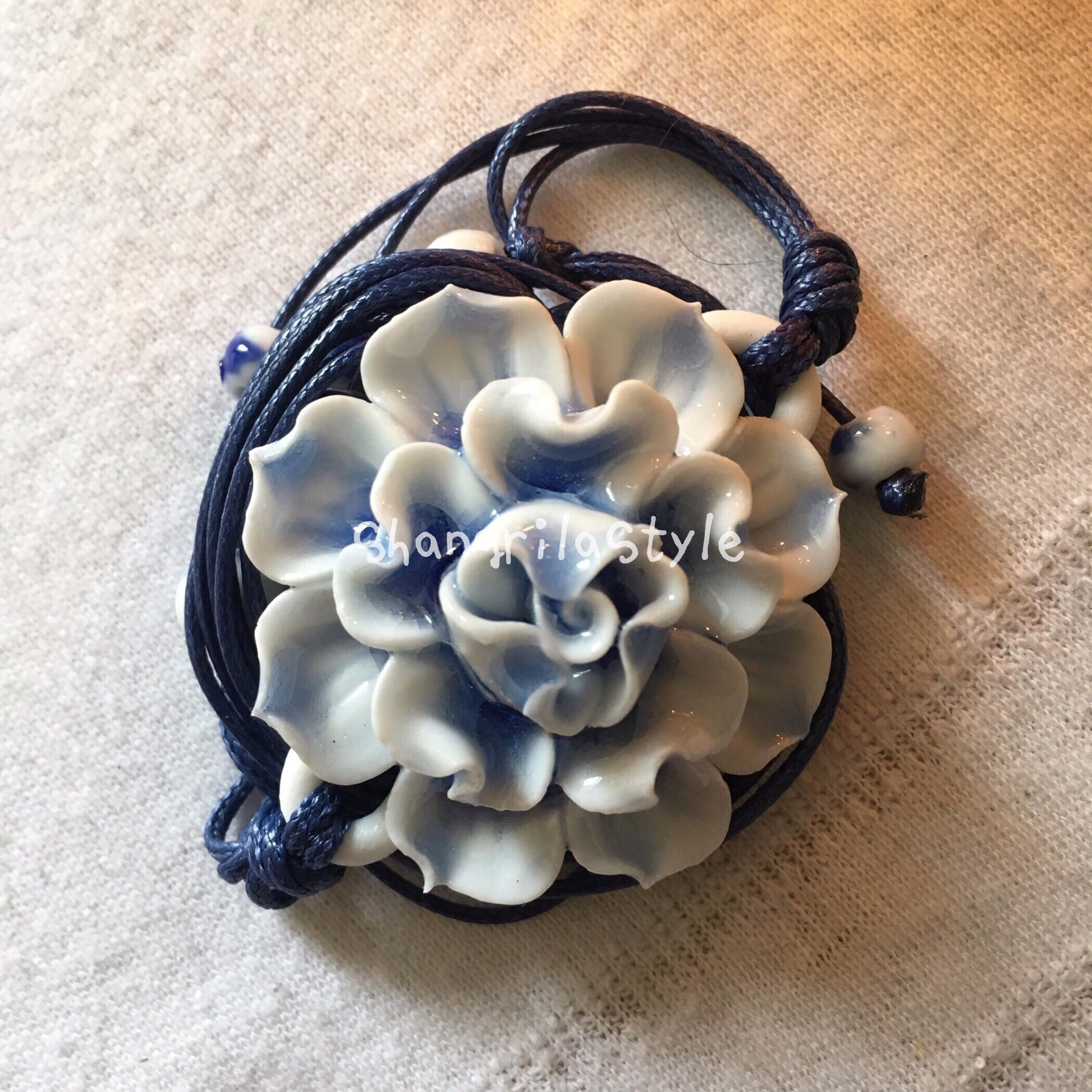 Ceramic lotus pendant necklace in blue chinese traditional style by ceramic lotus pendant necklace in blue chinese traditional style by shangrilastyle on etsy izmirmasajfo Images