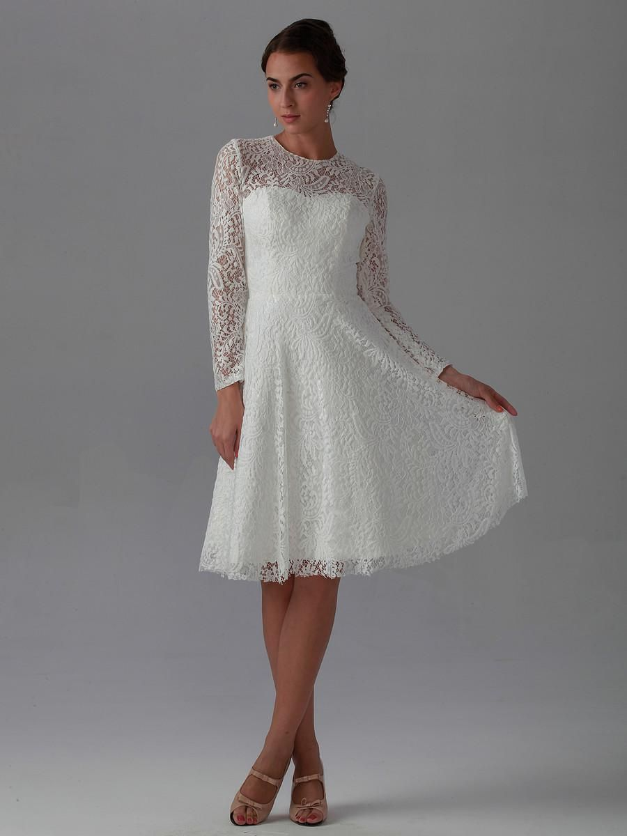 2015 new best elegant a line knee length long sleeve lace for Petite dresses for wedding