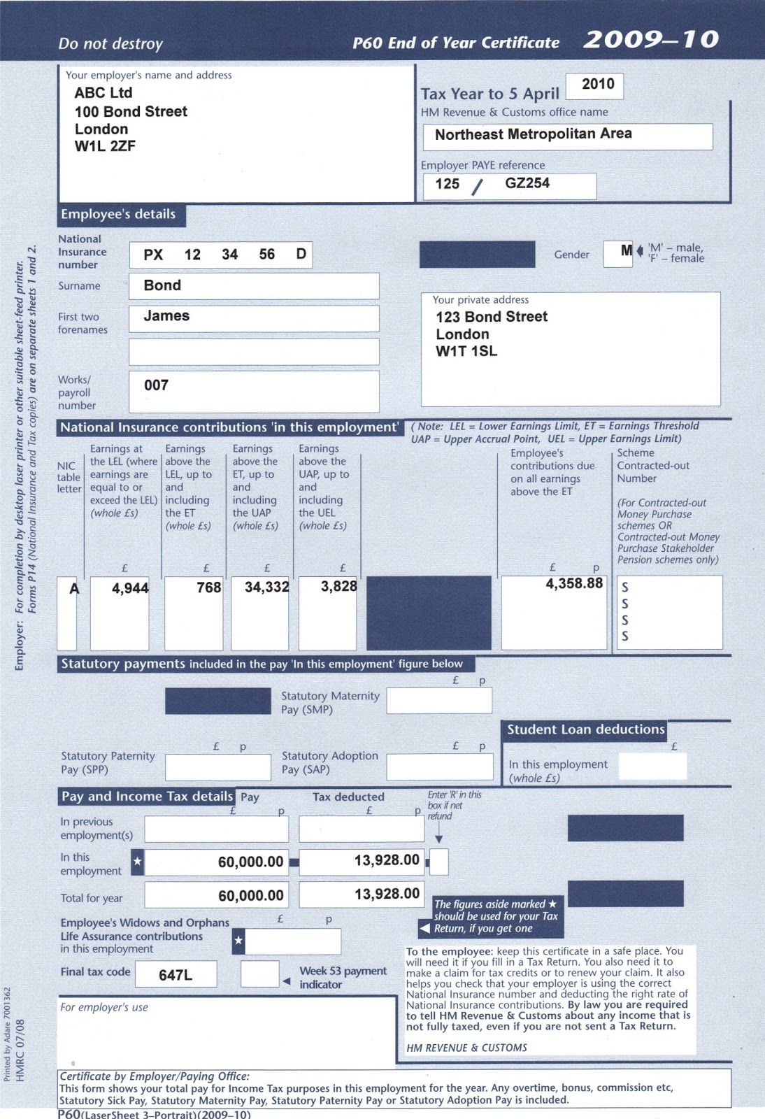 If you need Replacement Payslips in Case of LostP60 Form