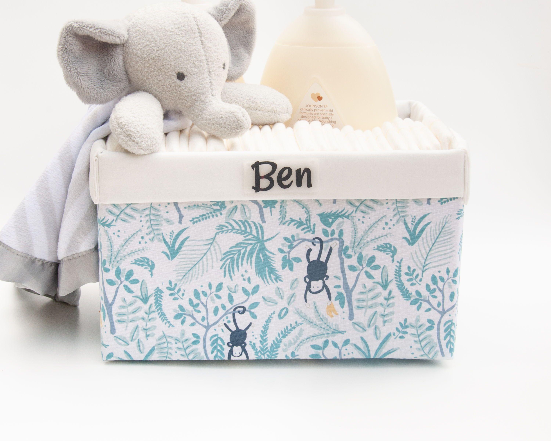 Photo of Baby Shower Gift, Personalized Baby Gift,Bathroom Organizer, Diaper Organizer, Boy Toy Box, Monkey N