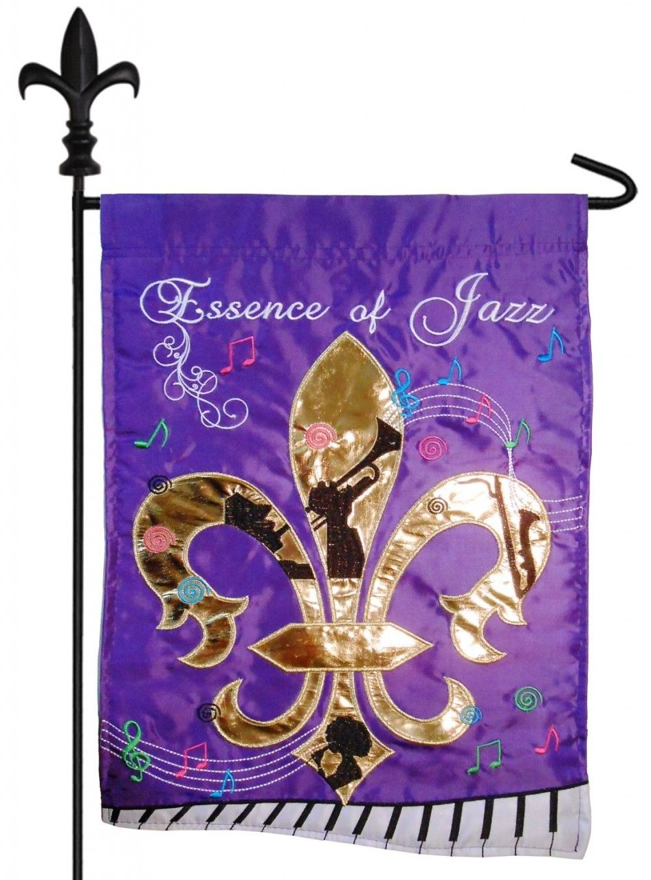 IAmEricas Flags - Essence of Jazz Fleur de Lis Double Applique Garden Flag, $18.00 (http://www.iamericasflags.com/products/essence-of-jazz-fleur-de-lis-double-applique-garden-flag.html)