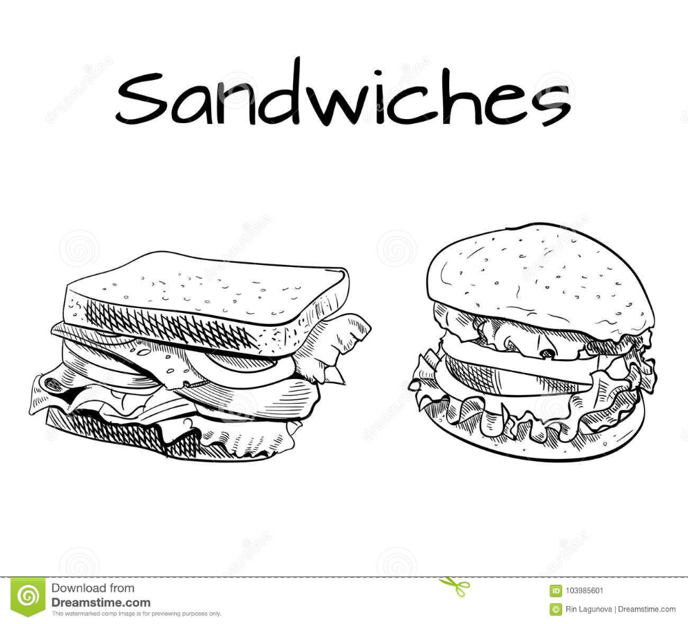 Sandwich And Burger Outline Drawing Vector Sketch Stock Vector Illustration Of Drawing Eating 103985601 Vector Sketch Outline Drawings Ski Drawing