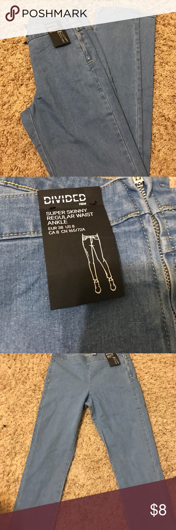 H&M DIVIDED Supper Skinny Regular Waist Ankle Never worn size 8 H&M Jeans Skinny