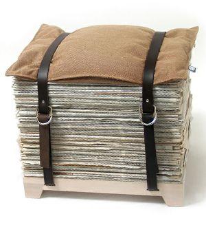 Magazine/Newspaper Perch. belts. wood block. pillow.