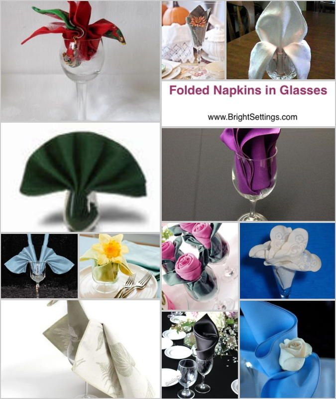 how to fold paper napkins in wine glasses