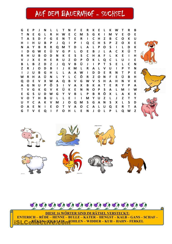 Tiere auf dem Bauernhof - Suchsel | Tiere auf dem bauernhof, Tier ...
