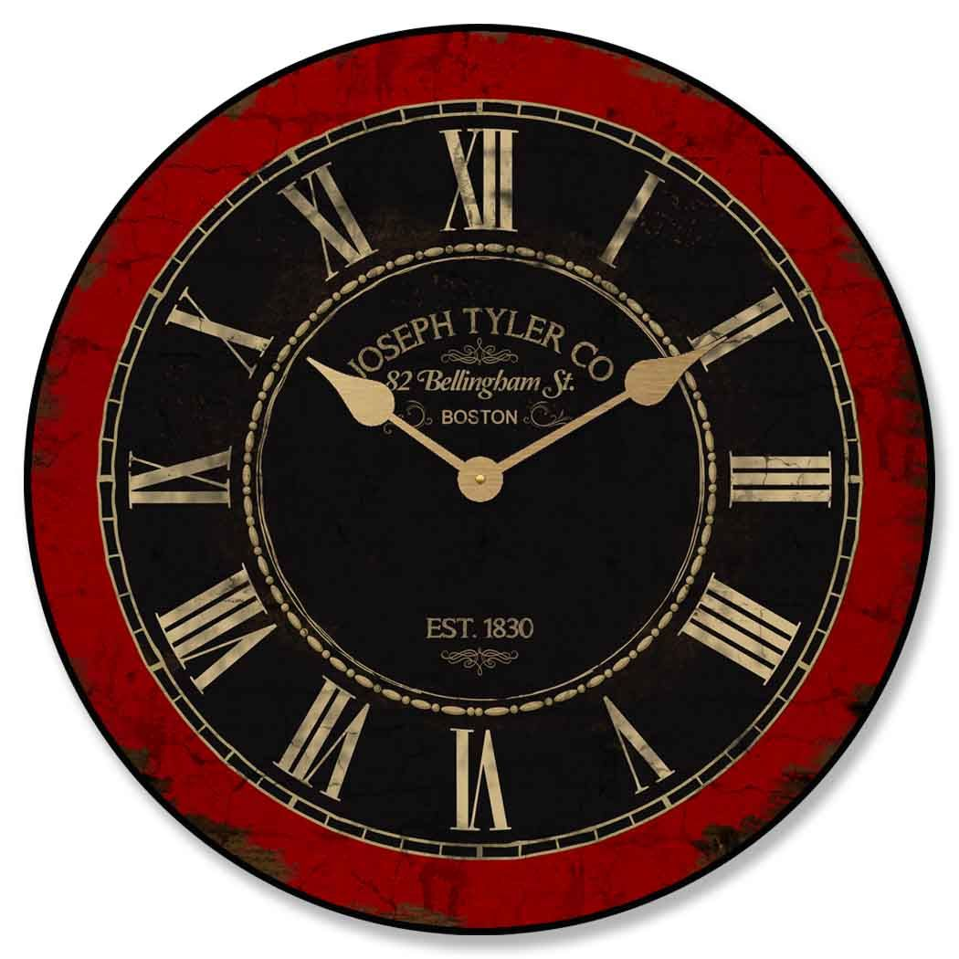 Love This Vintage Style Red And Black Clock Especially With The Gold Roman Numerals Black Clocks Roman Clock Clock