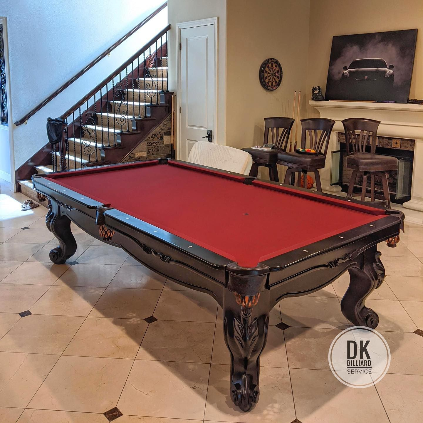 9 Foot Connelly Scottsdale Installed In Yorba Linda Home Tour Edition Wine Cloth And Espresso Stain On Solid Maple Wood 1 25 I In 2020 Pool Table Billiards Play Pool
