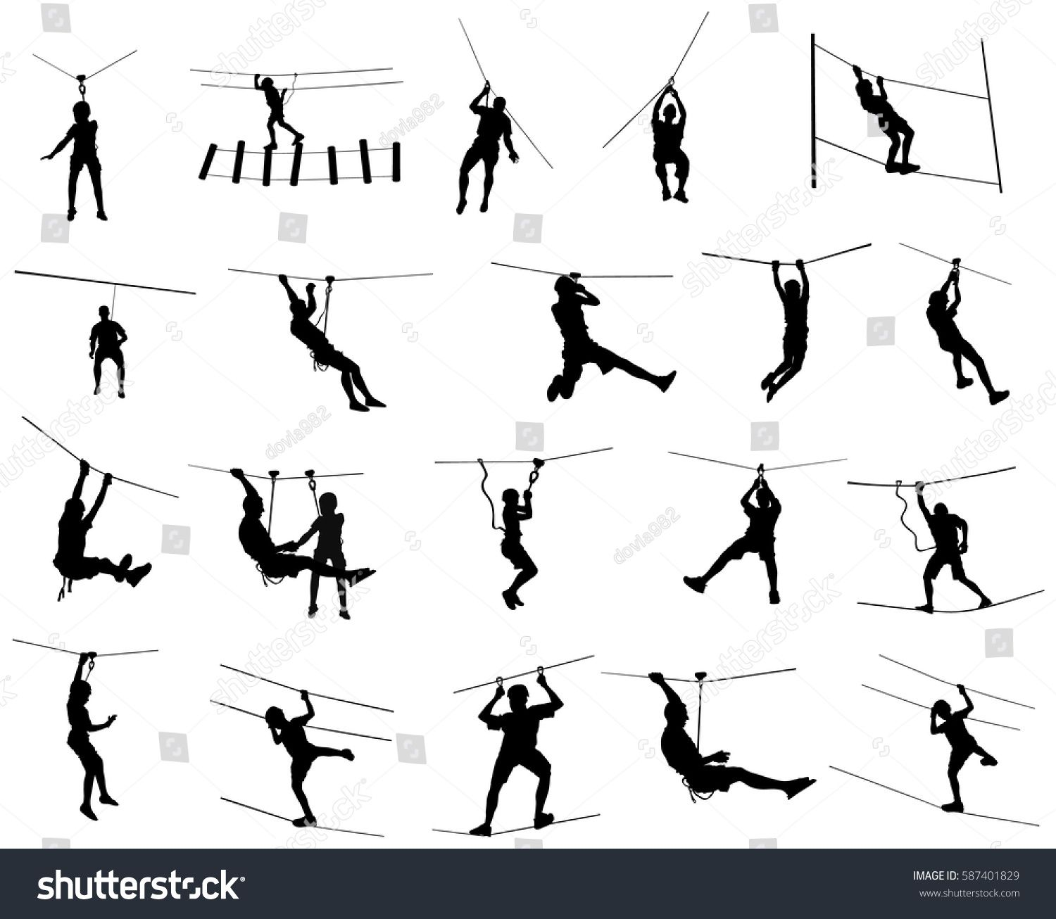 Extreme Sportsman Took Down With Rope Man Climbing Vector Silhouette Illustration Isolated On Whit Silhouette Illustration Silhouette Graphic Design Business
