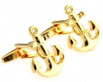 Gold Anchor Cufflink Men's Novelty Sailor Cuff Links