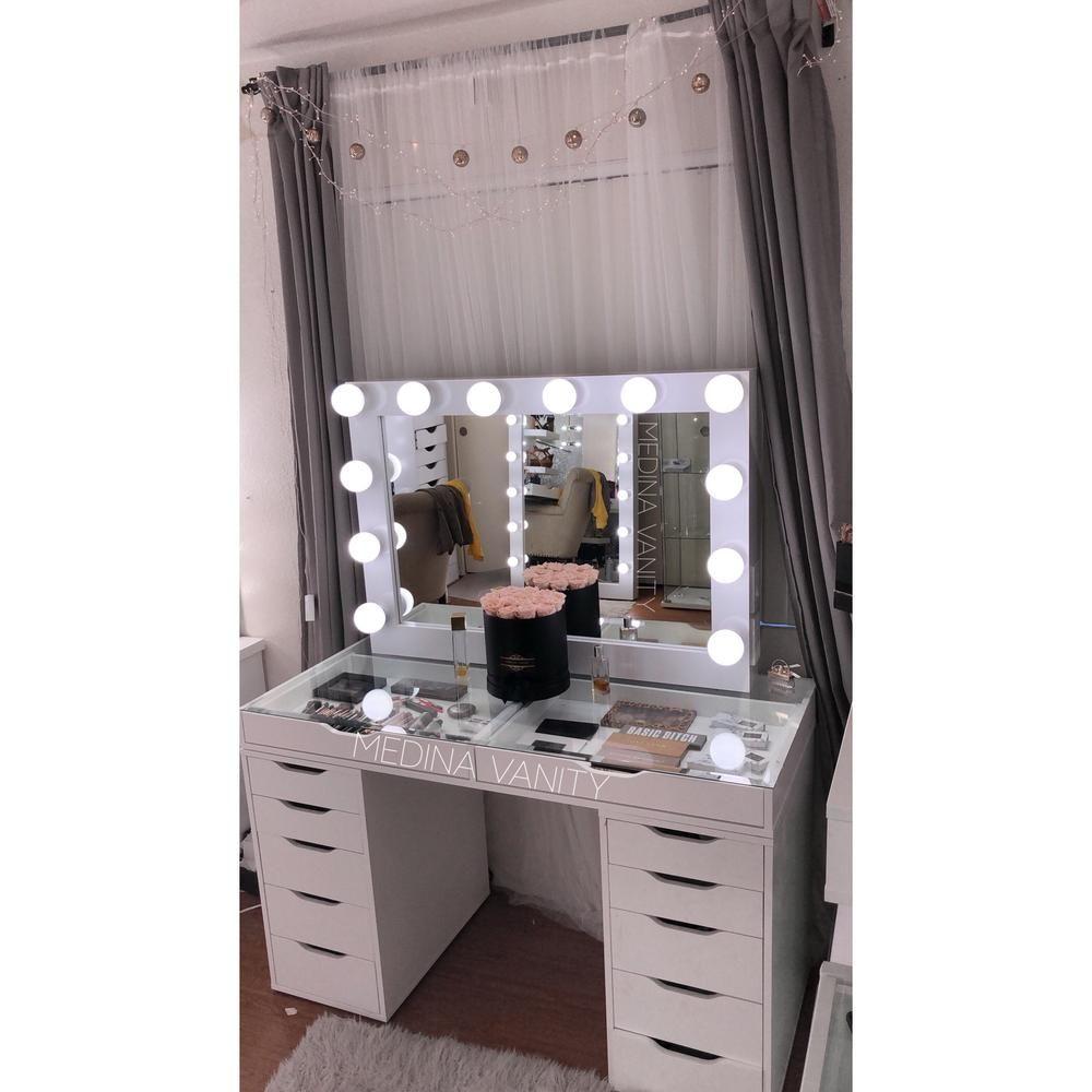 Hollywood Dream Vanity Mirror + Zara Vanity Table bundle with 9