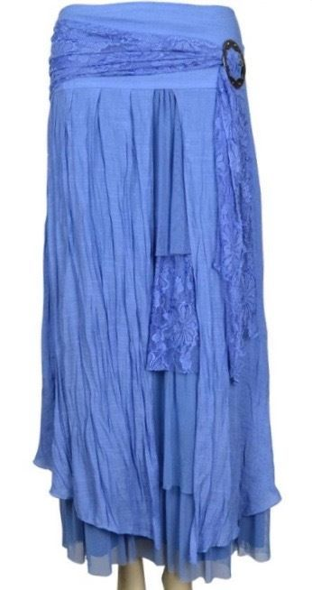 PRETTY ANGEL Blue Vintage Boho Peasant Gypsy skirt--layered, flowing, elegant